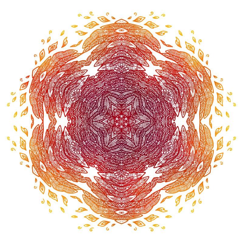 Пламенистый красный и оранжевый стиль doodle оперяется абстрактная мандала иллюстрация штока