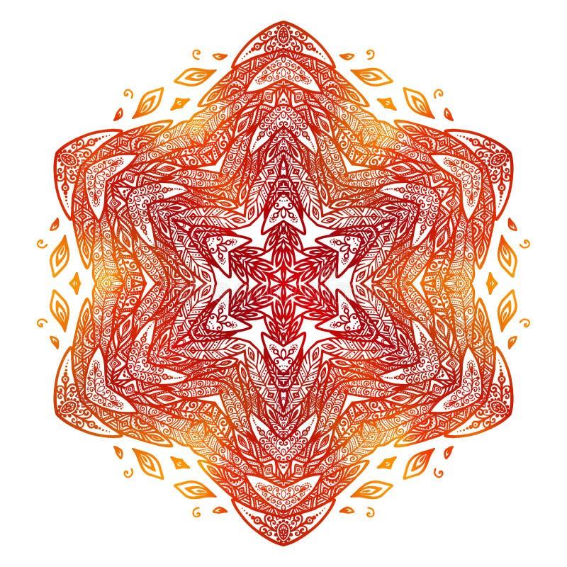 Пламенистый красный и оранжевый стиль doodle оперяется абстрактная мандала бесплатная иллюстрация