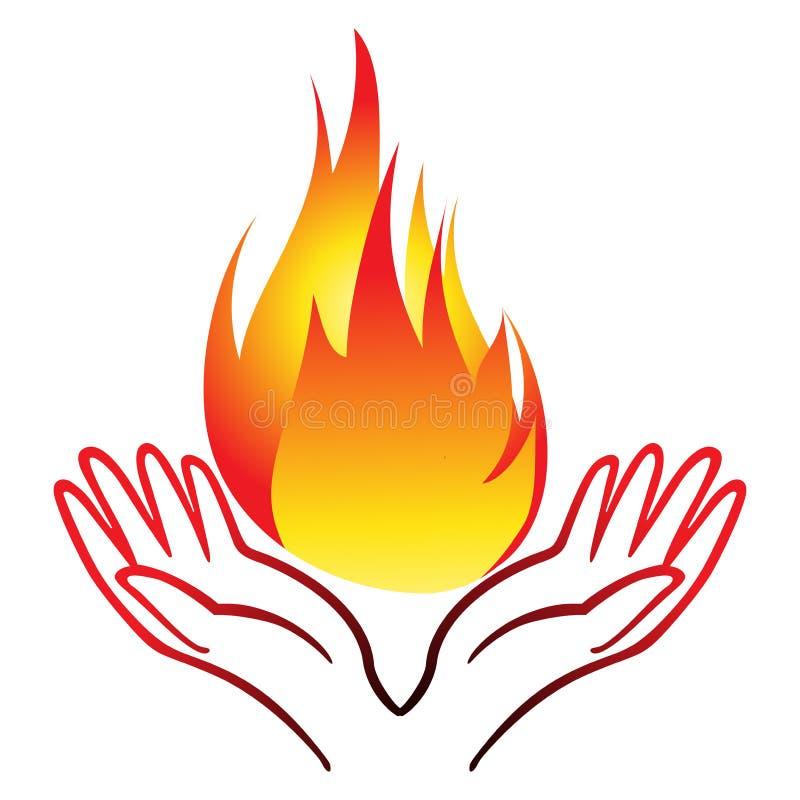 Пламя руки иллюстрация вектора