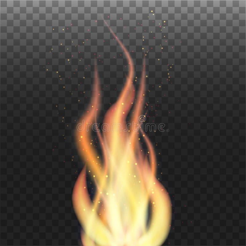 Пламя с частицами на прозрачной предпосылке стоковое фото