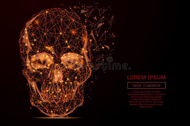 Пламя черепа низкое поли иллюстрация штока