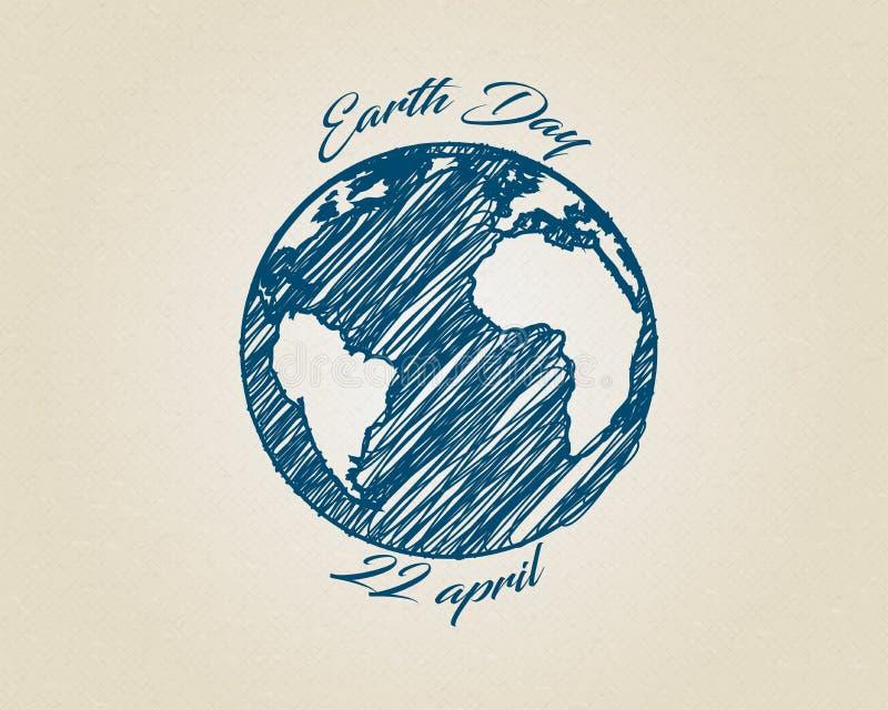 Планета глобуса мира вектора эскиза синих чернил с текстом вокруг Чертеж дня земли на рециркулировать коробку иллюстрация штока