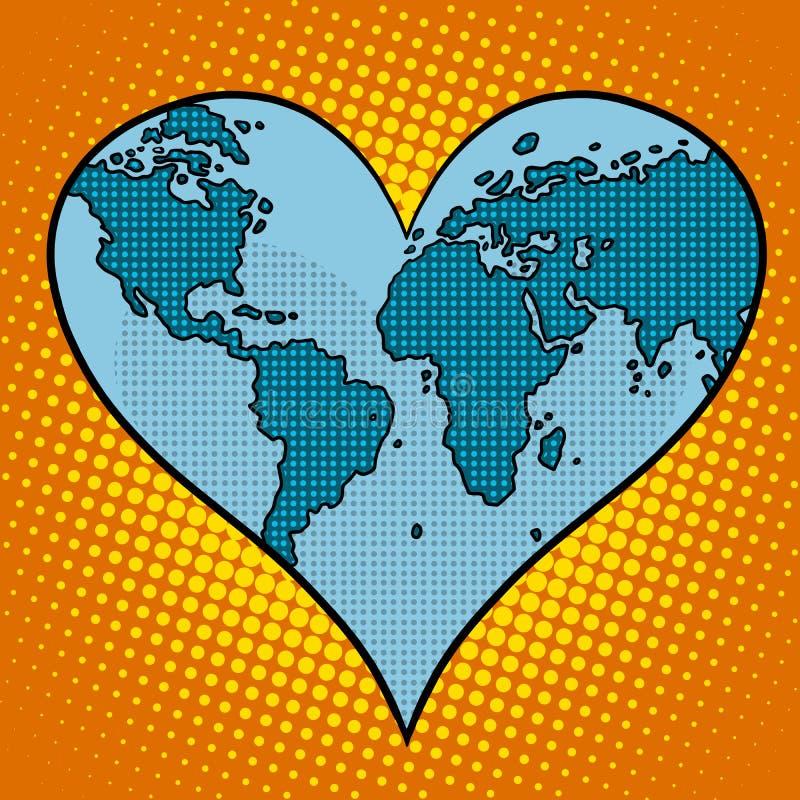 Планета земли сердца иллюстрация вектора