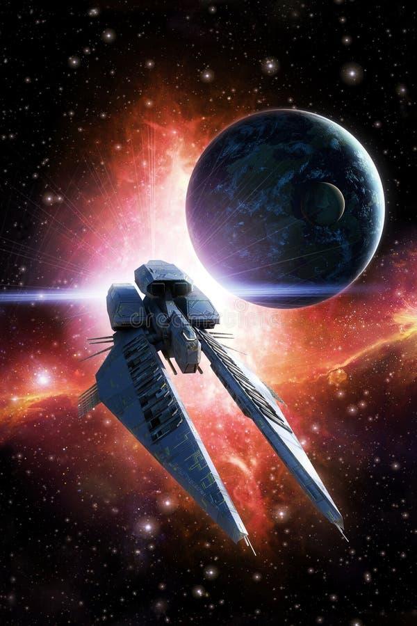 Планета и межзвёздное облако космического корабля иллюстрация вектора