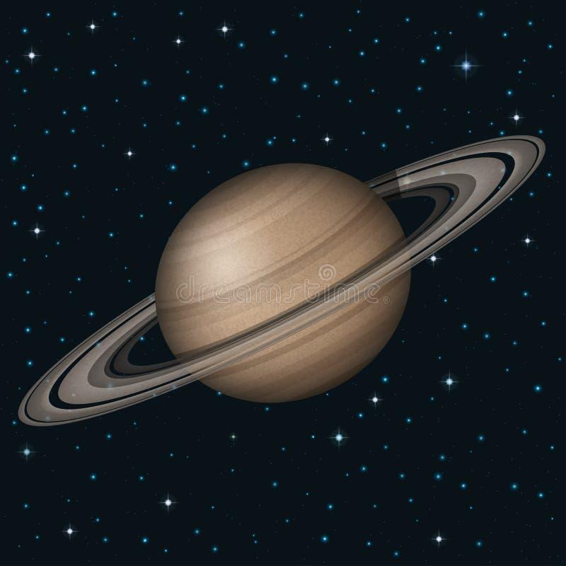 Планета Сатурн в космосе иллюстрация вектора