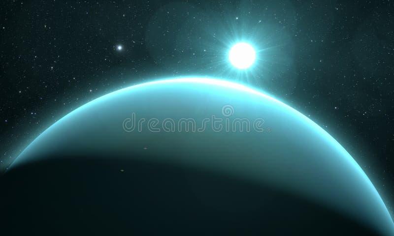 Планета Уран с восходом солнца иллюстрация штока