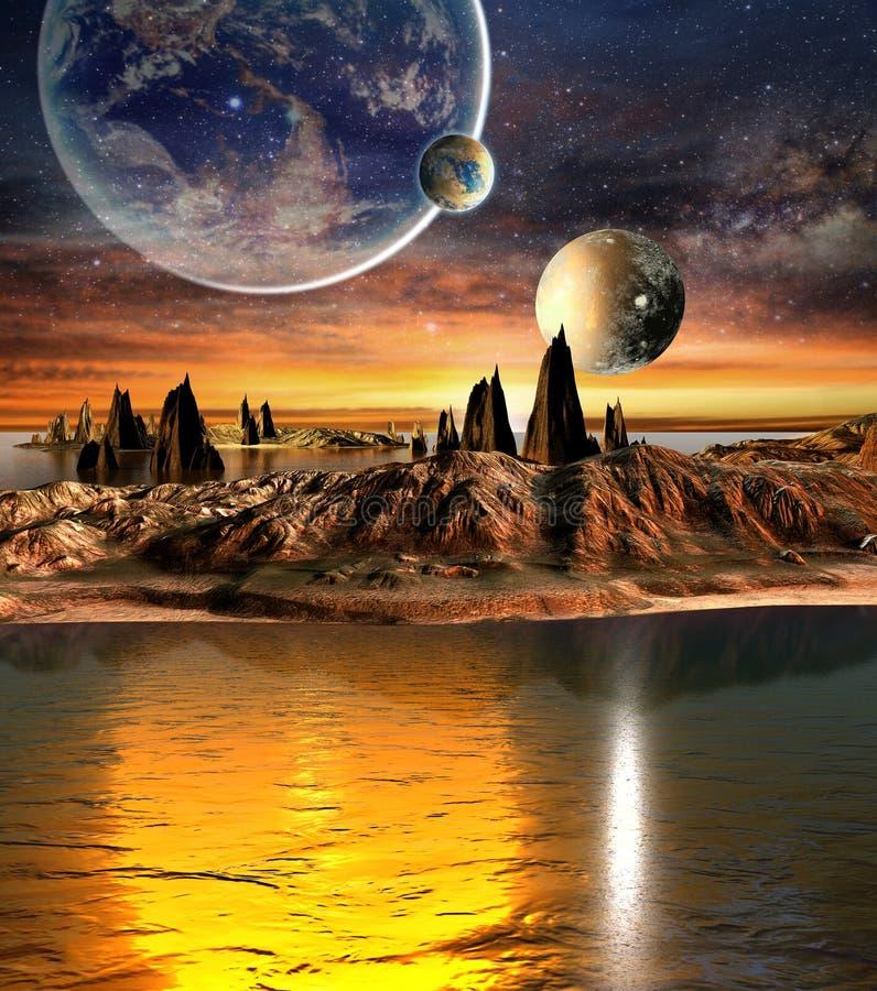 Планета чужеземца с планетами, луной земли и горами иллюстрация вектора