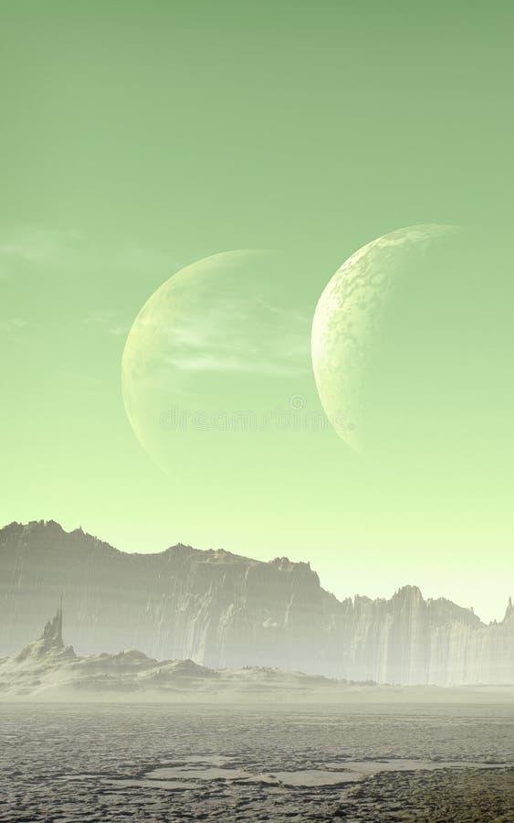 Планета чужеземца с 2 лунами иллюстрация штока