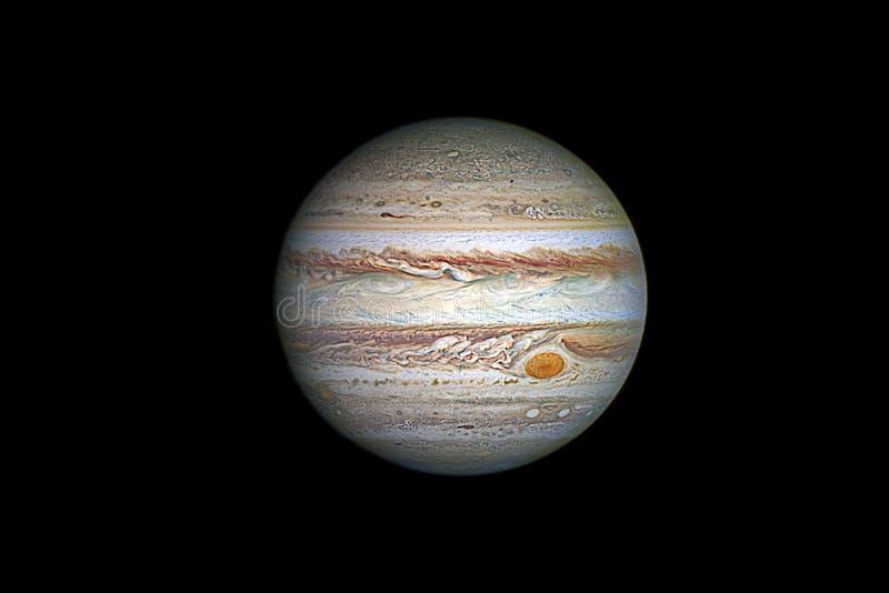 Планета Юпитера, изолированная на черноте стоковая фотография