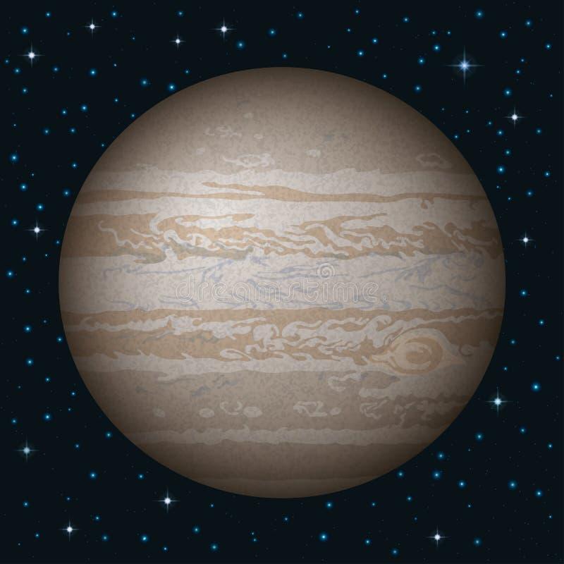 Планета Юпитер в космосе иллюстрация штока