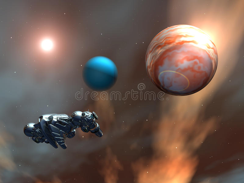 Планеты чужеземца с космическим кораблем иллюстрация вектора