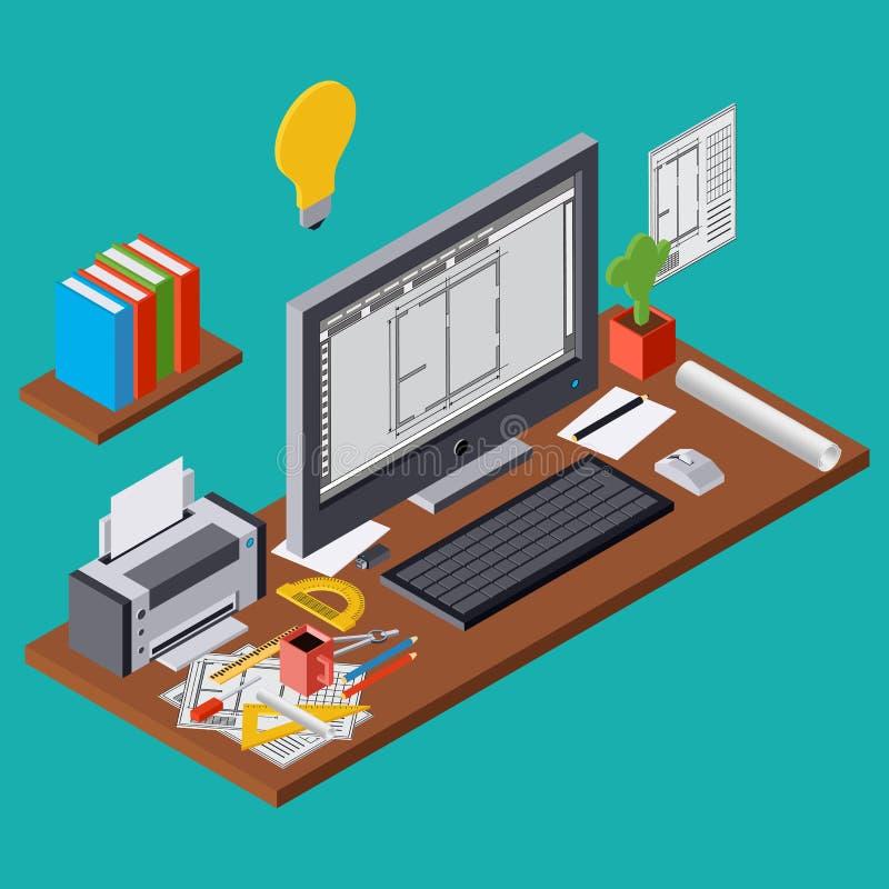 Планирование архитектуры, проект, иллюстрация вектора рабочего места архитектора бесплатная иллюстрация