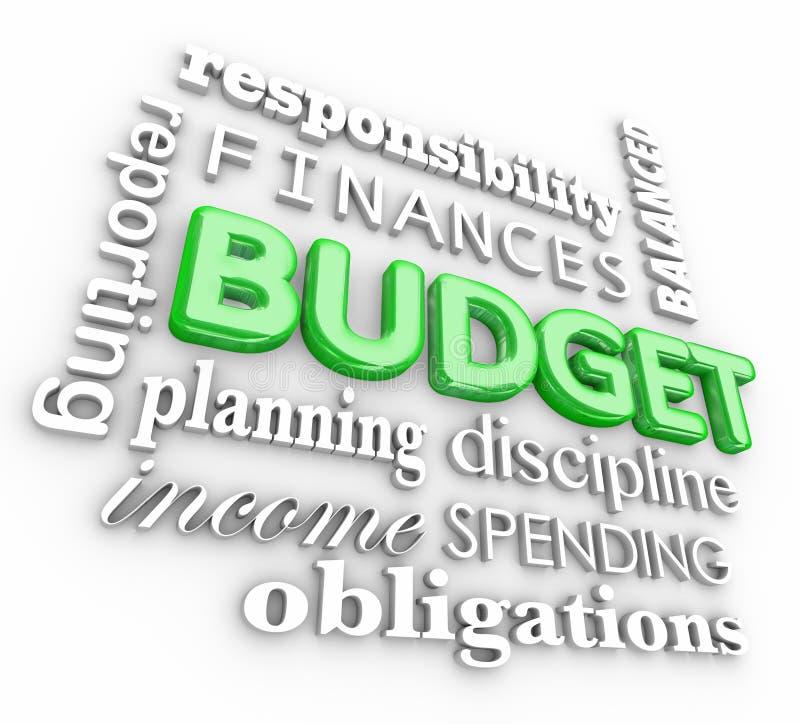 Планирование коллажа слова бюджета 3d финансирует деньги сбережений траты иллюстрация вектора