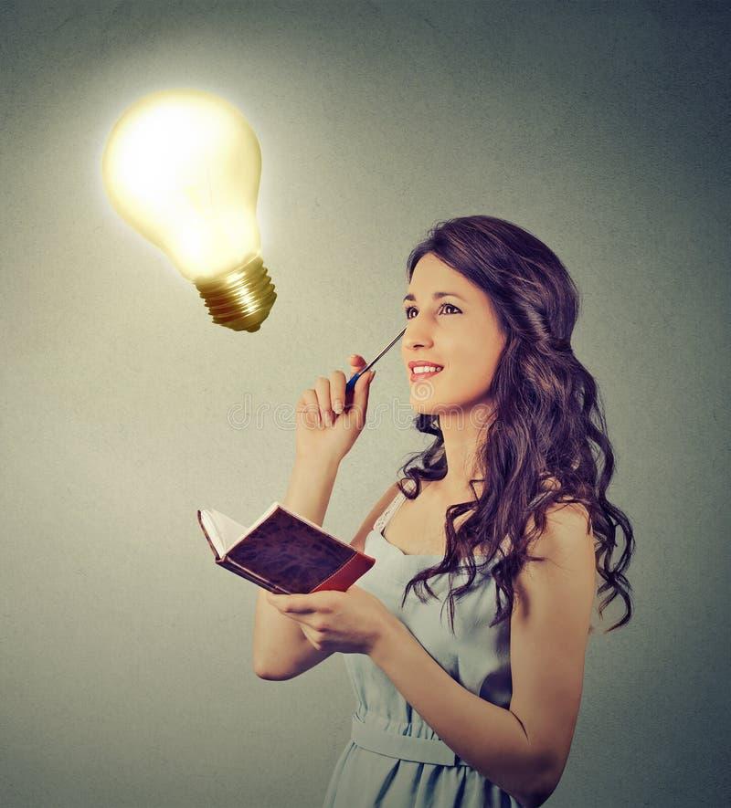 Планирование красивой девушки думая смотря вверх на яркой электрической лампочке стоковое изображение