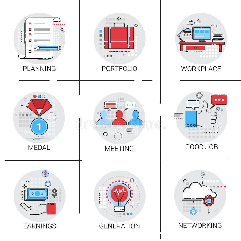 Планирование сотрудничества заработков нового значка встречи рабочего места дела электрической лампочки поколения идеи установлен иллюстрация вектора