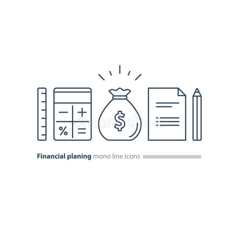 Планирование финансовых и пенсии, фонд денег, линия установленные значки проекта дела иллюстрация штока