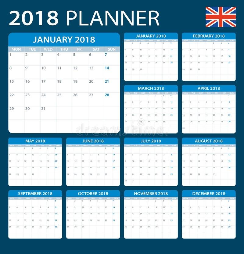 Плановик 2018 - английская версия иллюстрация штока