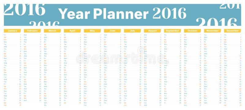Плановик 2016 года иллюстрация вектора