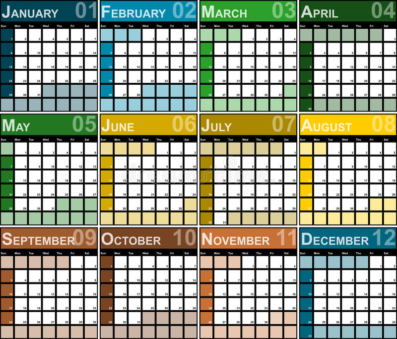Плановик дизайна 2017 календарей иллюстрация вектора