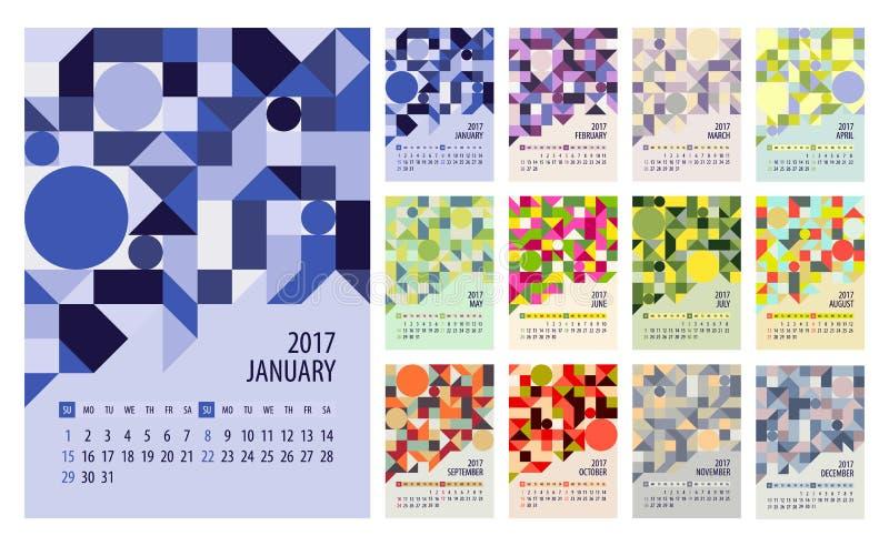 Плановик календаря на 2017 год иллюстрация вектора