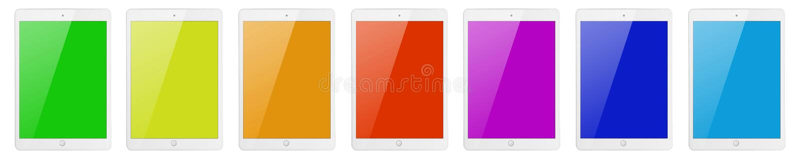 7 планшетов с экранами цвета стоковое фото rf