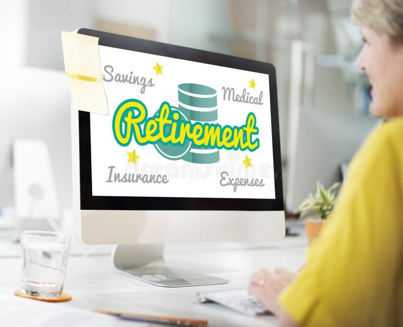 План выхода на пенсию старший чеканит концепцию графика вклада стоковые изображения