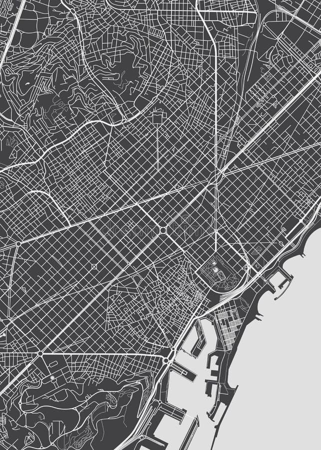План города Барселоны, детальная карта вектора иллюстрация штока