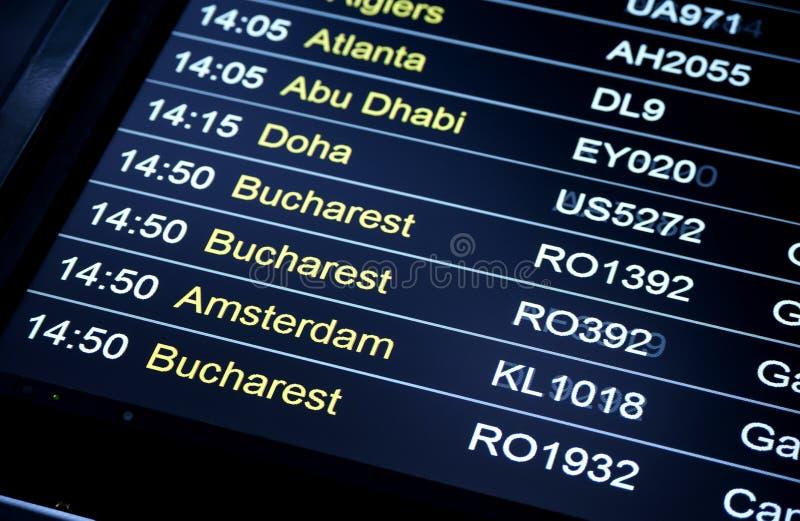 План-график данным по полета отклонений в международном аэропорте стоковая фотография