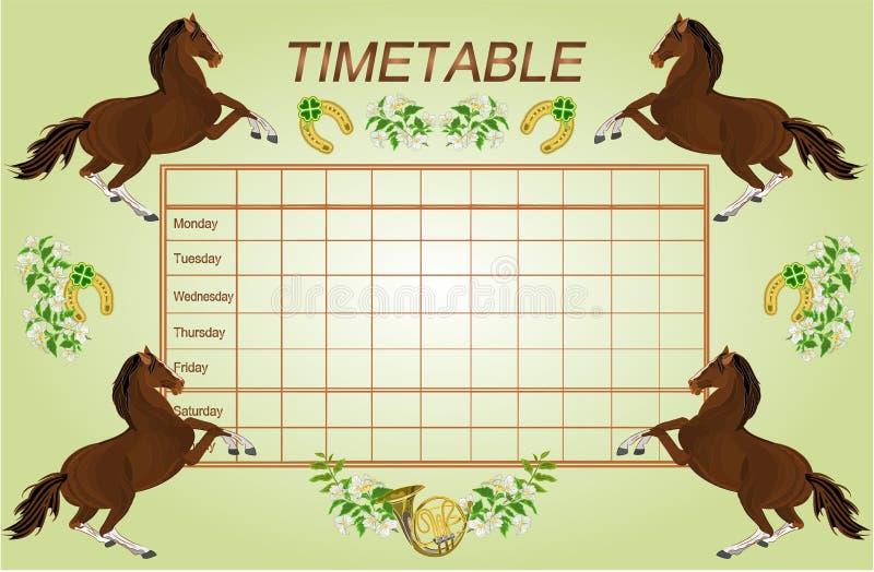 План-график расписания еженедельный с вектором лошадей темного коричневого цвета бесплатная иллюстрация
