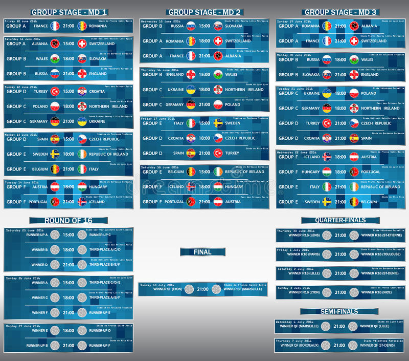 План-график 2016 финального матча ЕВРО чашки Футбол чемпионата футбола европейский иллюстрация вектора