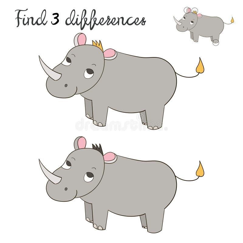 План детей разницах в находки для носорога игры иллюстрация штока