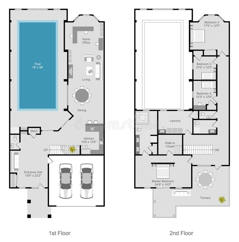 План здания таунхауса иллюстрация вектора