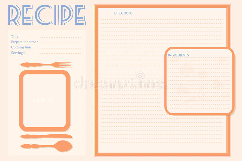 План карточки рецепта вектора ретро иллюстрация штока