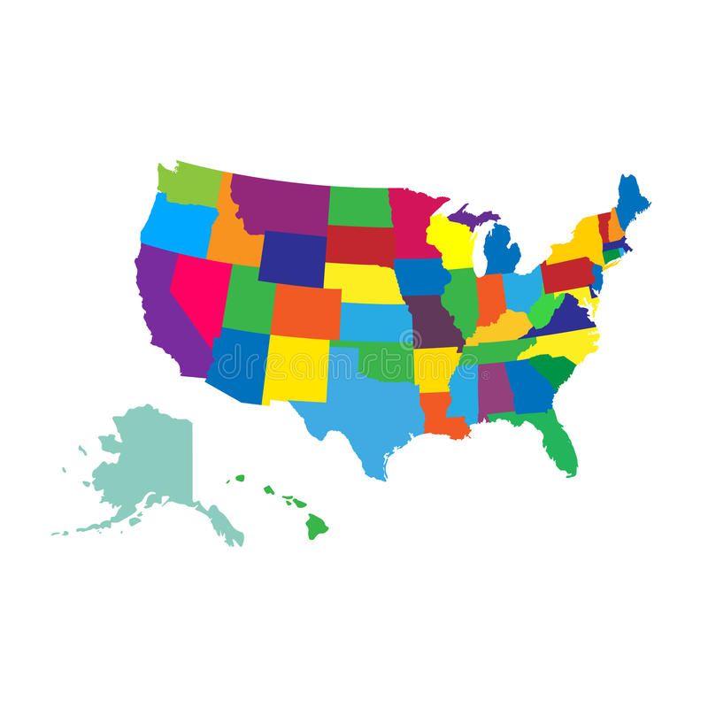 план контурной карты заявляет США иллюстрация вектора