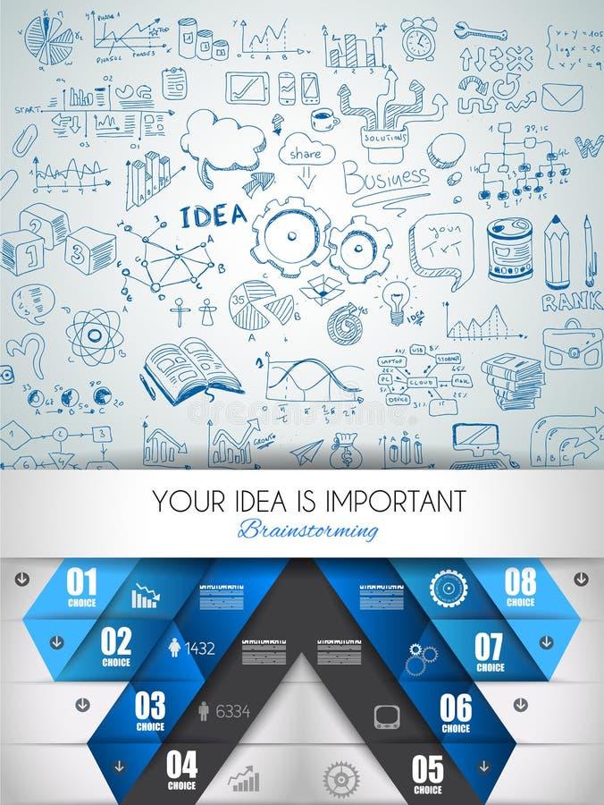План концепции идеи для предпосылки коллективно обсуждать и Infographic иллюстрация штока