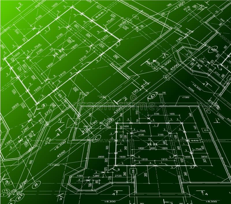 План дома на зеленой предпосылке. Светокопия вектора иллюстрация вектора