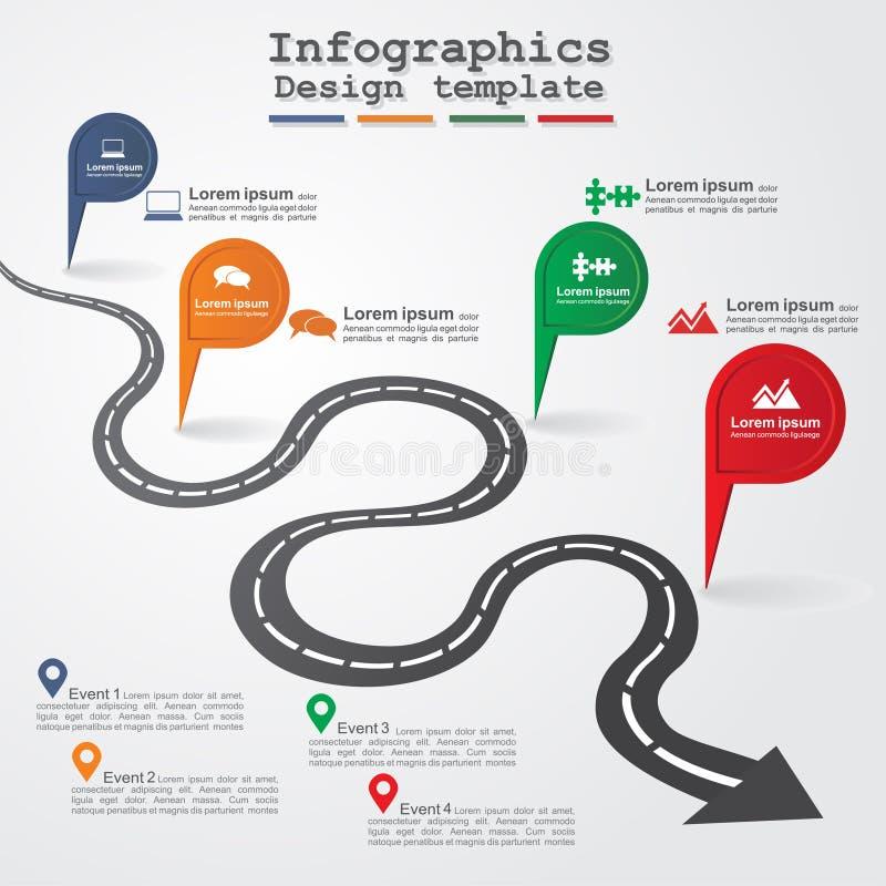 План дороги infographic также вектор иллюстрации притяжки corel иллюстрация штока