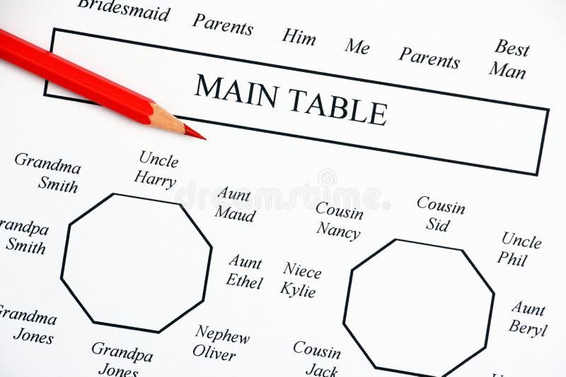 План рассадки гостей за столом свадьбы стоковое фото rf