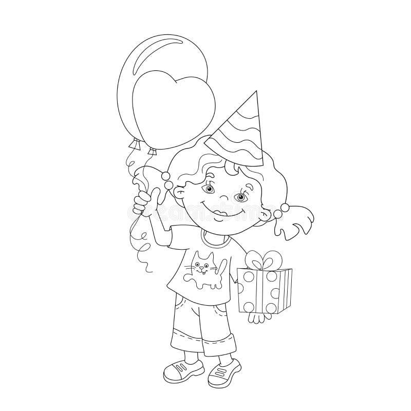 План страницы расцветки девушки с подарком и воздушными шарами иллюстрация вектора