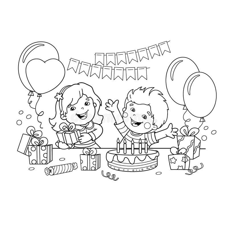 План страницы расцветки детей с подарки на празднике День рождения Книжка-раскраска для детей иллюстрация штока