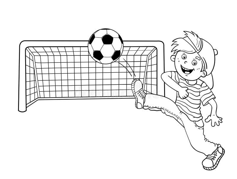 План страницы расцветки мальчика пиная футбольный мяч иллюстрация вектора