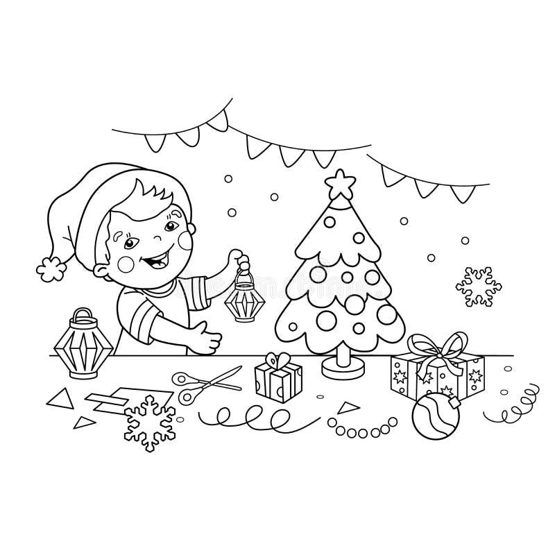 План страницы расцветки мальчика шаржа делая рождеством бумажные фонарики Рождество Новый Год Книжка-раскраска для детей иллюстрация штока