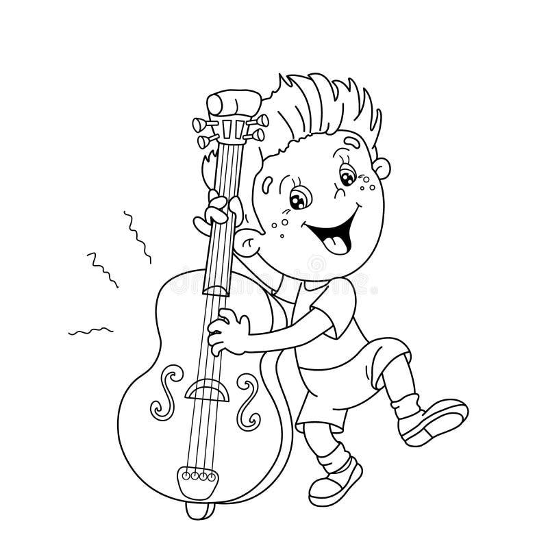 План страницы расцветки мальчика шаржа играя виолончель иллюстрация штока