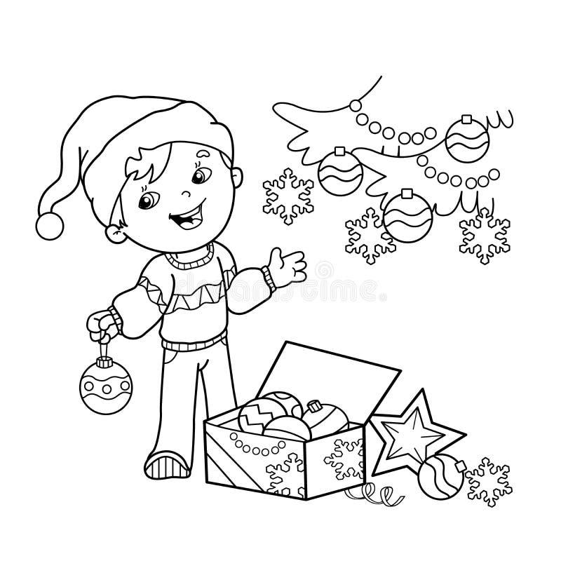 План страницы расцветки мальчика шаржа украшая рождественскую елку с орнаментами и подарками Рождество Новый Год Книжка-раскраска иллюстрация вектора