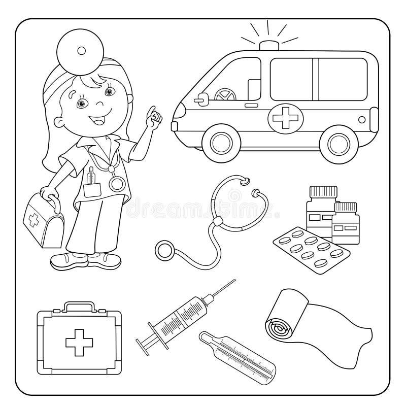 План страницы расцветки доктора Комплект медицинских инструментов иллюстрация вектора