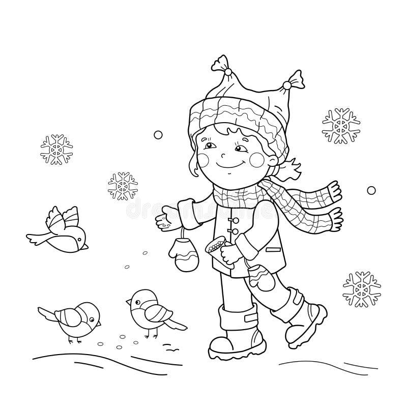 План страницы расцветки птиц девушки шаржа подавая Зима бесплатная иллюстрация