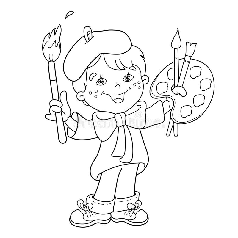 План страницы расцветки художника мальчика шаржа с красками бесплатная иллюстрация