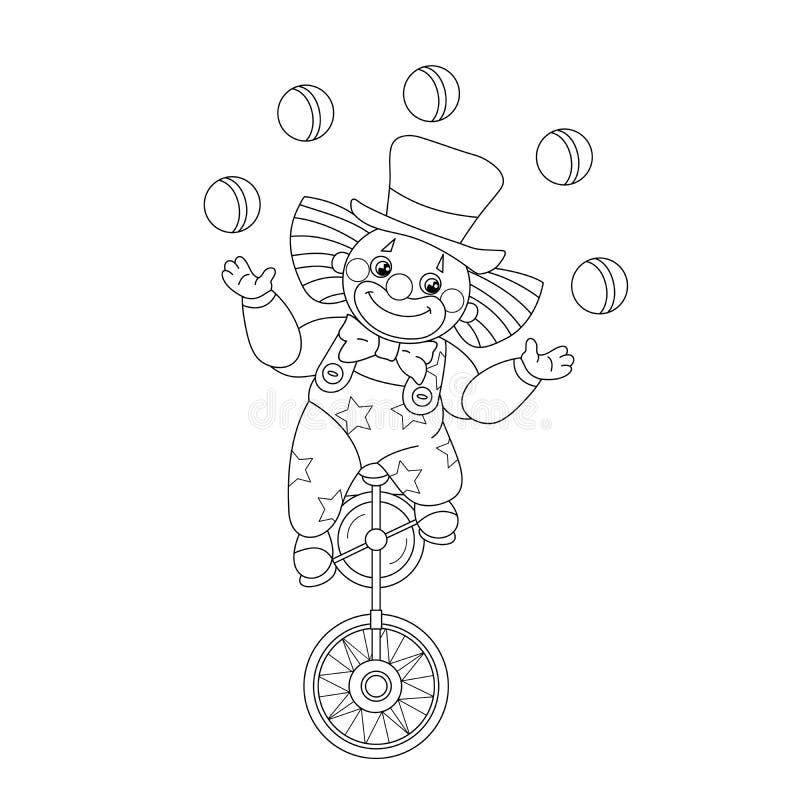 План страницы расцветки шариков смешного клоуна жонглируя иллюстрация штока