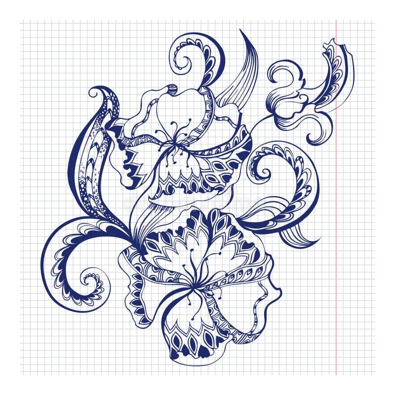 План схематичных doodles декоративный флористический иллюстрация штока