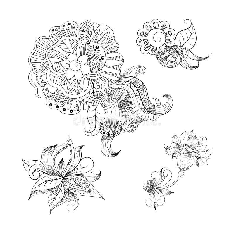 План схематичных doodles декоративный флористический бесплатная иллюстрация